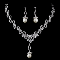 Teresa - Gorgeous vintage Cubic Zirconia pearl wedding necklace set - SALE
