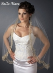 The Romance Collection - 1 Tier Elbow Length Veil with Gold Threading