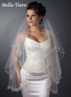 The Romance Collection -  2 Layer Fingertip Length Embroidered Edge Veil