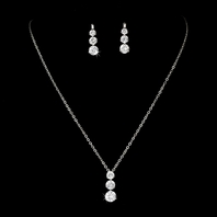 Three Stone Cubic Zirconia Bridal Jewelry Set - sale