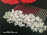 Tiberia - Romantic rose rhinestone wedding hair comb - SPECIAL