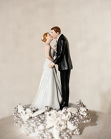"""""""Tie(ing) the Knot"""" Vintage Rose Pearl Wedding Cake Topper"""