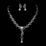 Timeless high end ivory pearl CZ wedding necklace set - SALE