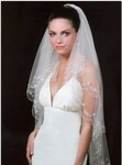 Two tier vintage inspired embroidered bridal veil - SALE!!