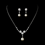 Valentina - Elegant CZ pearl bridal necklace set -- SALE!!