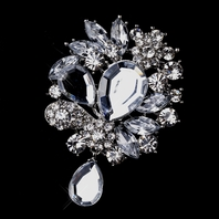Victoria - Beautiful - Antique Silver Rhinestone Brooch