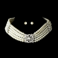 Victorian Pearl Choker & Earring Set -  SPECIAL