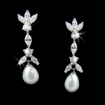 Victorian Style Cubic Zirconia and Pearl Earrings