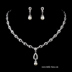 Vintage Beauty Pearl CZ Bridal Necklace Set - SALE