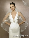 Vintage beauty romantic lace edge beaded bridal veil- 5559
