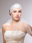 Vintage Bridal Headband Veil with Tulle & Floral Beading - SALE