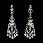 Debra-Beautiful Vintage Floral bridal Clip On Chandelier Earrings - SALE