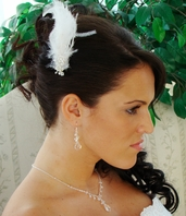Vintage Inspired Crystal and Feather Hair Clip - SALE!!