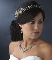 Vintage-Inspired Freshwater Pearl vine halo Gold silver Headband - SALE
