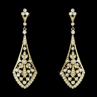 Vintage inspired gold drop cz earrings