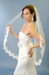 Vintage lace edge One Tier Fingertip wedding Veil - SALE
