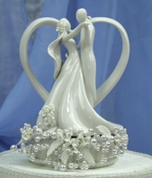 Vintage rose and pearl heart wedding cake topper - SALE