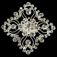 Vintage Square Intricate Crystal Brooch or Bridal Hair Comb