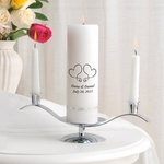 Whimsical Hearts 3pc Unity Candle set with stand