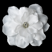 White Jeweled Delphinium wedding hair flower - SALE