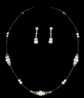 White Pearl with Swarovski Crystals & Rondells Illusion Jewlery Set