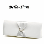 white or ivory satin elegant Wedding clutch Purse