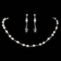 Willow - Elegant ivory pearl crystal lariat drop wedding necklace set - SALE