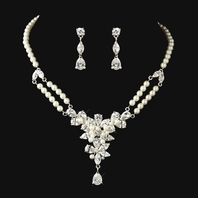 Zara - Stunning ivory pearl crystal bridal necklace set - SALE