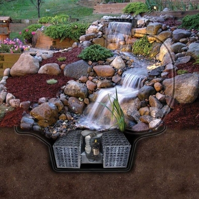 "Pro-Series Just-A-Falls Kit w/ Standard Res-Cubes 82"" Spillway (34' Stream)"