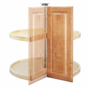 "28"" Pie Cut Lazy Susan (Wood) - Two Shelf Set"