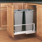 Double 50 Qt. Pull-Out Container (Metallic Silver)