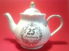 25th Anniversary Porcelain Round Teapot with Swarovski Crystals