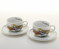 Alice in Wonderland Cup and Saucer - Set of 2