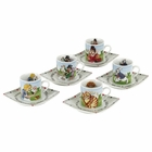 Alice in Wonderland Tea Party Cups & Saucers - Set of 5