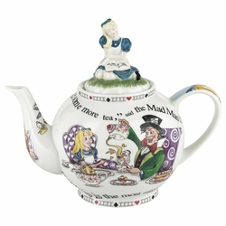 Alice in Wonderland Teapot with Alice Lid - 6 Cup Teapot