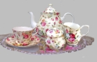 Antique Rose Bone China Tea Set for One