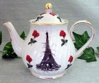 Black Eiffel Tower amd Roses Teapot - 6 Cup