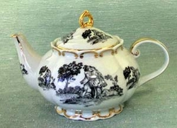Black Toile Princess Porcelain Teapot