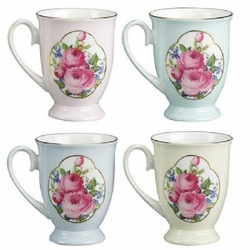 Bone China - Royal Roses Footed Mugs Set of 4