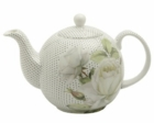 Bone China White Rose Teapot
