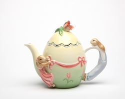 Bunnies, Roses, and Bows Ceramic Teapot