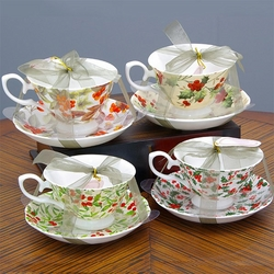 Christmas Cups and Saucers - Assorted Patterns - Set of 4