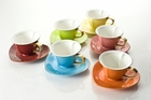 Colorful Hearts Cup and Saucer - Set of 6 Assorted