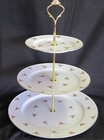 Dot Rose Fine Bone China - 3 Tiered Dessert Stand