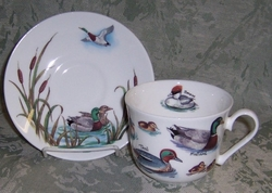 """Ducks "" 16 oz Breakfast Cup & Saucer by  Roy Kirkham - 2 Sets"