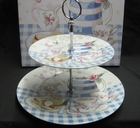 2 Tiered Bone China Cake Stand - Blue