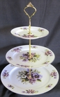 English Bone China - Pansy 3 Tier Cake Stand