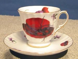 Fancy Red Hat Cup and Saucer - 4 Sets