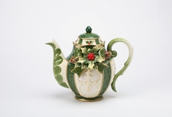 Festive Holly Porcelain Teapot