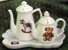 "Fielder Keepsake ""Christmas Toys"" Salt and Pepper Shaker with Tray"